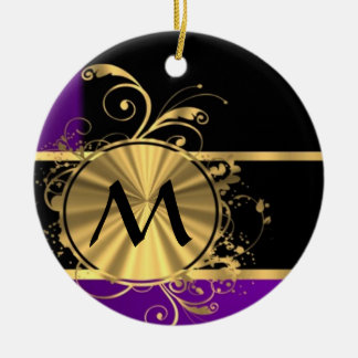 Purple gold and black monogram Double-Sided ceramic round christmas ornament