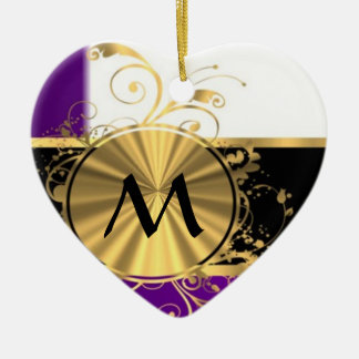 Purple gold and black monogram Double-Sided heart ceramic christmas ornament