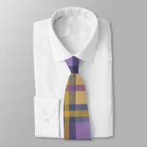Purple Gold and Blue Modern Plaid Necktie
