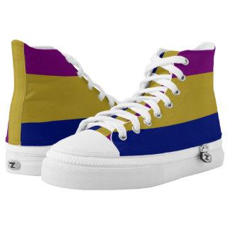 Purple Gold and Blue-Striped Hi-Top