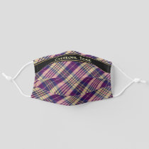 Purple, Gold and Blue Tartan Adult Cloth Face Mask
