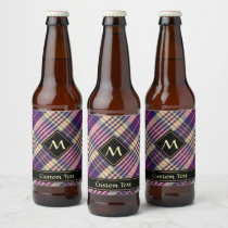 Purple, Gold and Blue Tartan Beer Bottle Label