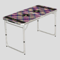 Purple, Gold and Blue Tartan Beer Pong Table