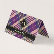 Purple, Gold and Blue Tartan Business Card