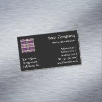 Purple, Gold and Blue Tartan Business Card Magnet