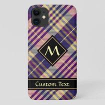 Purple, Gold and Blue Tartan iPhone 11 Case