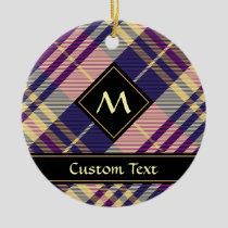 Purple, Gold and Blue Tartan Ceramic Ornament