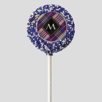 Purple, Gold and Blue Tartan Chocolate Covered Oreo Pop