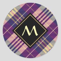 Purple, Gold and Blue Tartan Classic Round Sticker