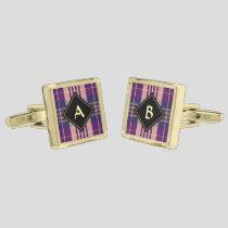 Purple, Gold and Blue Tartan Cufflinks