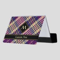 Purple, Gold and Blue Tartan Desk Business Card Holder