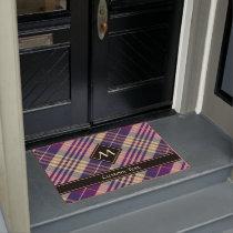 Purple, Gold and Blue Tartan Doormat