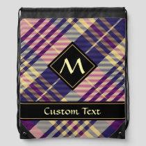 Purple, Gold and Blue Tartan Drawstring Bag