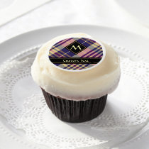 Purple, Gold and Blue Tartan Edible Frosting Rounds