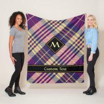 Purple, Gold and Blue Tartan Fleece Blanket