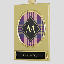 Purple, Gold and Blue Tartan Gold Plated Banner Ornament