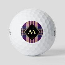 Purple, Gold and Blue Tartan Golf Balls