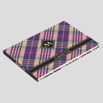 Purple, Gold and Blue Tartan Guest Book