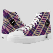 Purple, Gold and Blue Tartan High-Top Sneakers