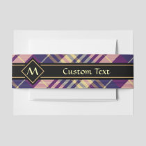Purple, Gold and Blue Tartan Invitation Belly Band