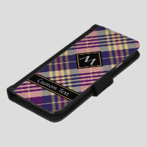 Purple, Gold and Blue Tartan iPhone 8/7 Wallet Case