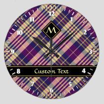 Purple, Gold and Blue Tartan Large Clock