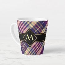 Purple, Gold and Blue Tartan Latte Mug