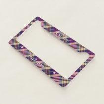 Purple, Gold and Blue Tartan License Plate Frame
