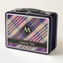 Purple, Gold and Blue Tartan Metal Lunch Box