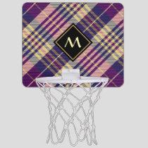 Purple, Gold and Blue Tartan Mini Basketball Hoop