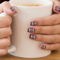 Purple, Gold and Blue Tartan Minx Nail Art