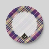 Purple, Gold and Blue Tartan Paper Plate