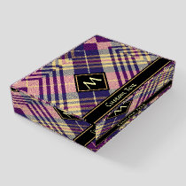 Purple, Gold and Blue Tartan Paperweight