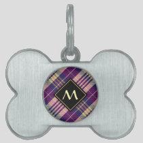 Purple, Gold and Blue Tartan Pet ID Tag