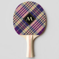 Purple, Gold and Blue Tartan Ping Pong Paddle