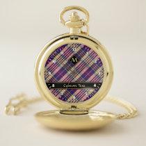 Purple, Gold and Blue Tartan Pocket Watch