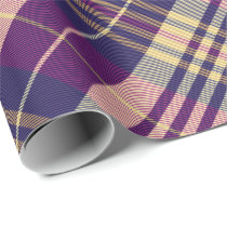 Purple, Gold and Blue Tartan Rotated Wrapping Paper