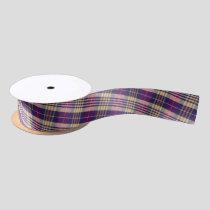 Purple, Gold and Blue Tartan Satin Ribbon