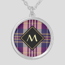 Purple, Gold and Blue Tartan Silver Plated Necklace