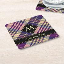 Purple, Gold and Blue Tartan Square Paper Coaster