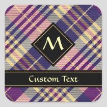 Purple, Gold and Blue Tartan Square Sticker