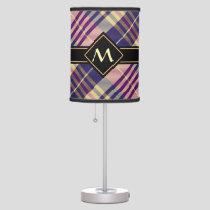 Purple, Gold and Blue Tartan Table Lamp