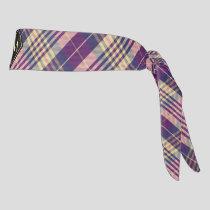 Purple, Gold and Blue Tartan Tie Headband