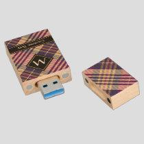 Purple, Gold and Blue Tartan Wood Flash Drive