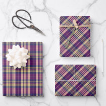 Purple, Gold and Blue Tartan Wrapping Paper Sheets