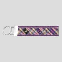 Purple, Gold and Blue Tartan Wrist Keychain
