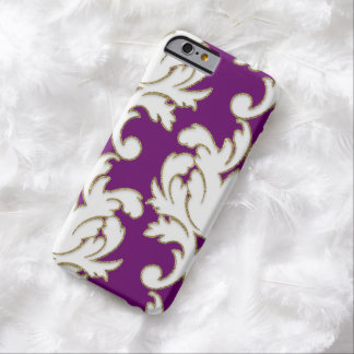 Purple Gold And White Floral Damask Barely There iPhone 6 Case