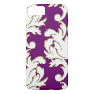Purple Gold And White Floral Damask iPhone 7 Case