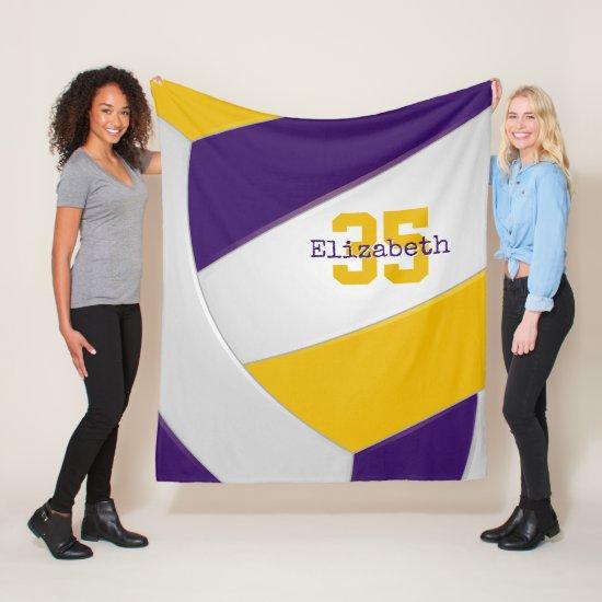 purple gold and white volleyball girls boys custom fleece blanket