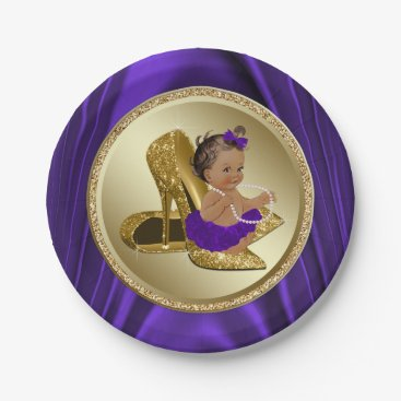 Toddler & Baby themed Purple Gold Baby Shower Paper Plates